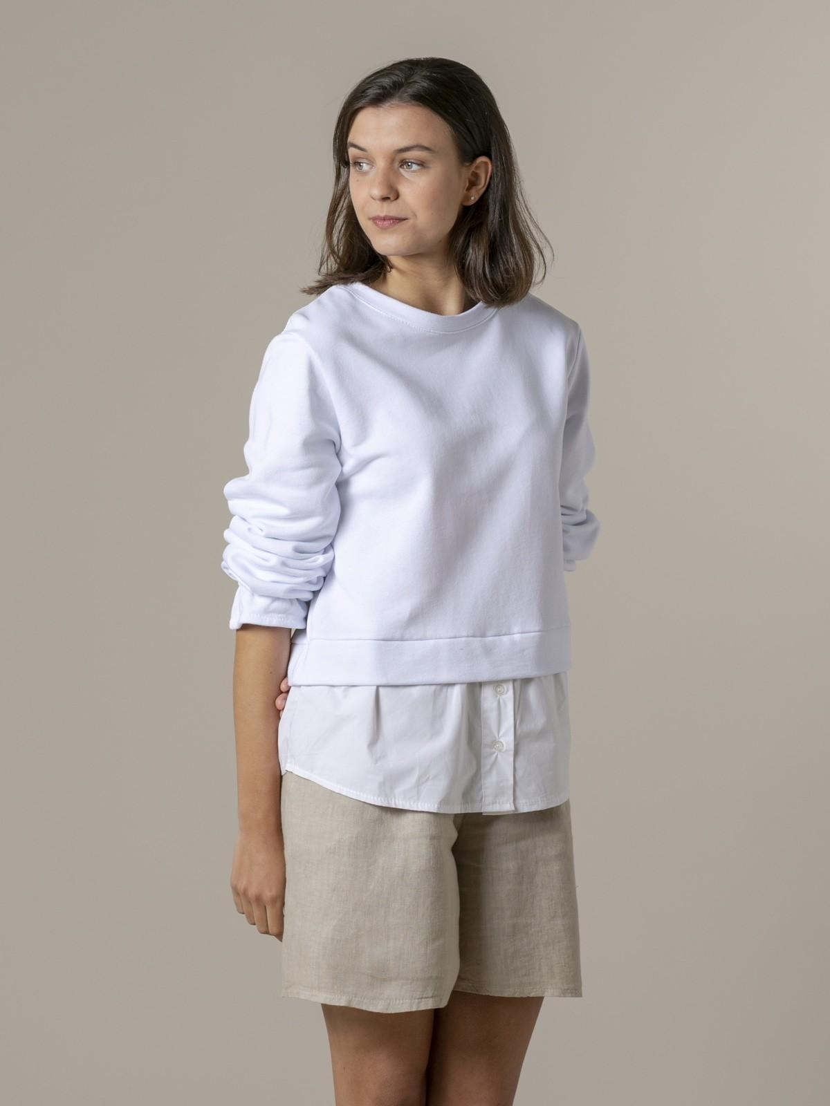 Sudadera mujer bajo camisero Blanco