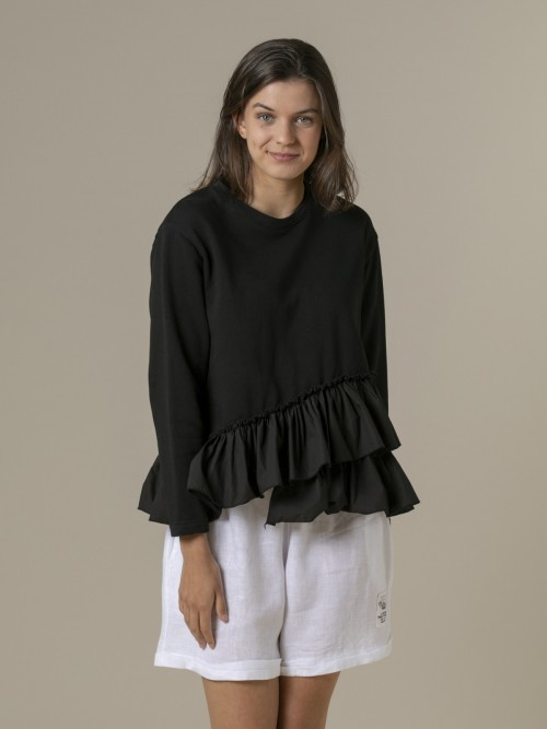 Woman Woman Ruffle sweatshirt Black