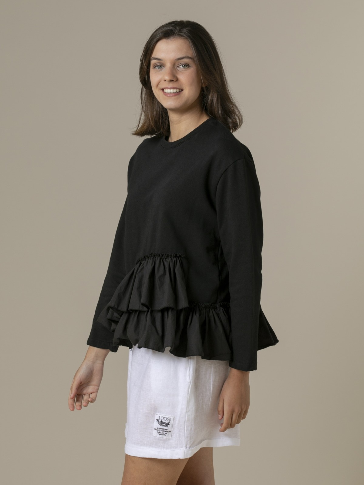 Woman Woman Ruffle sweatshirt Black