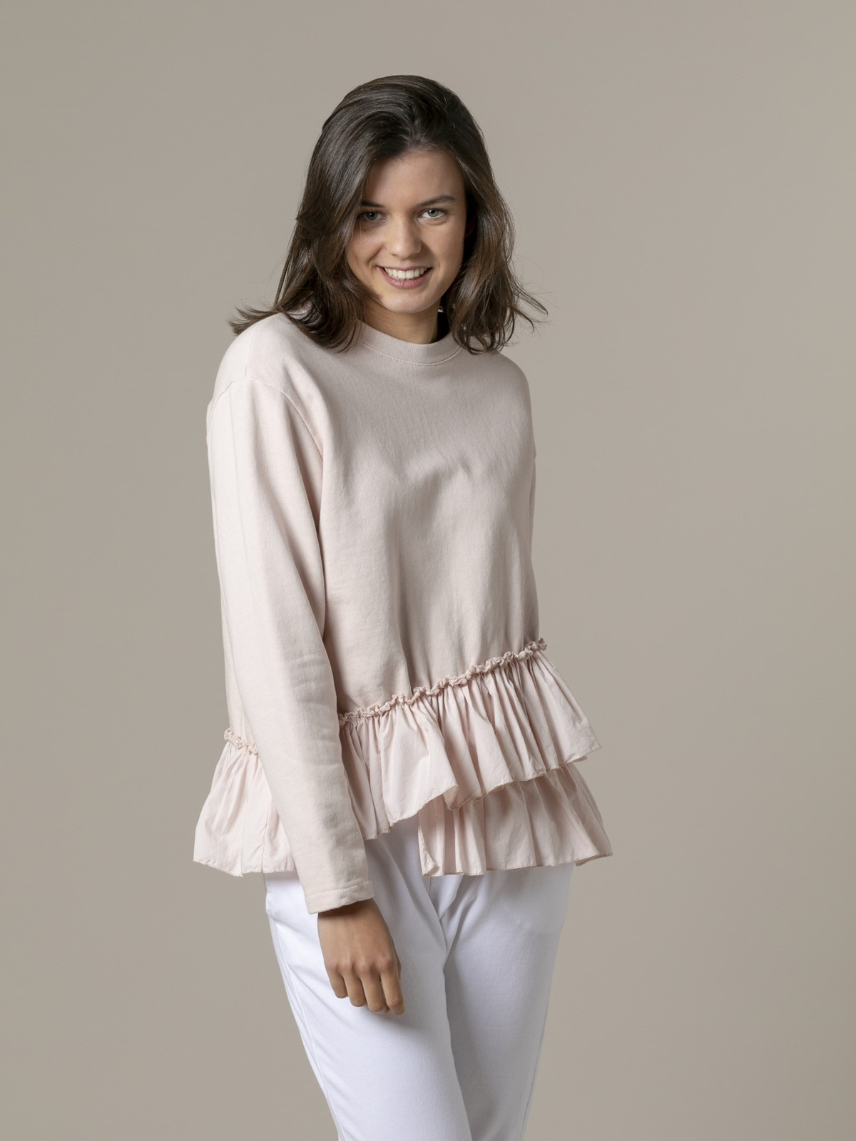 Woman Woman Ruffle sweatshirt Pink
