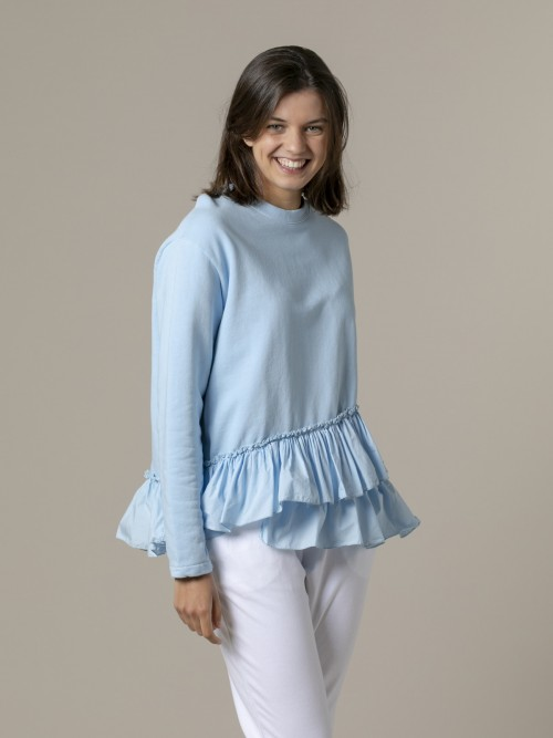 Woman Woman Ruffle sweatshirt Blue