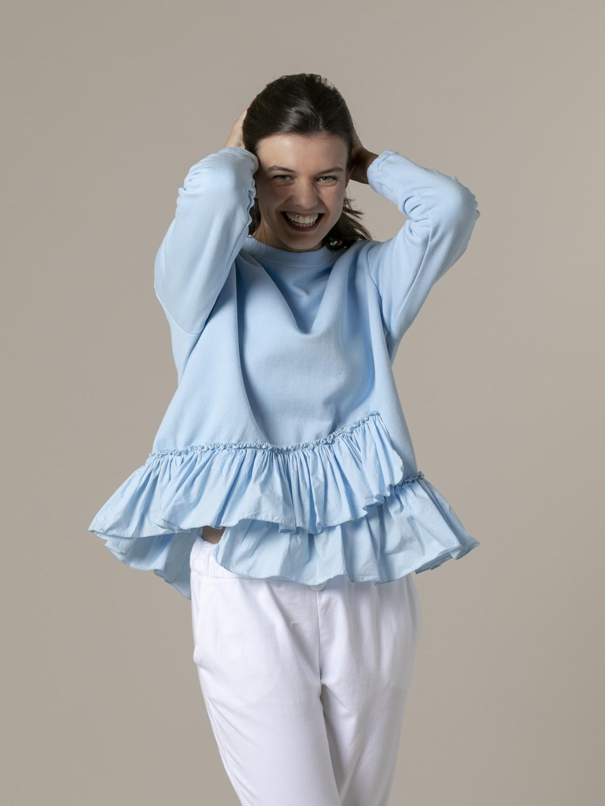 Sudadera mujer volantes Azul
