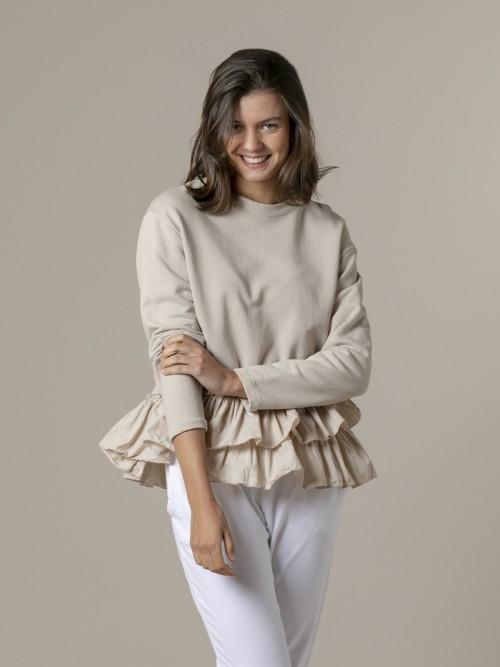 Woman Woman Ruffle sweatshirt Beige