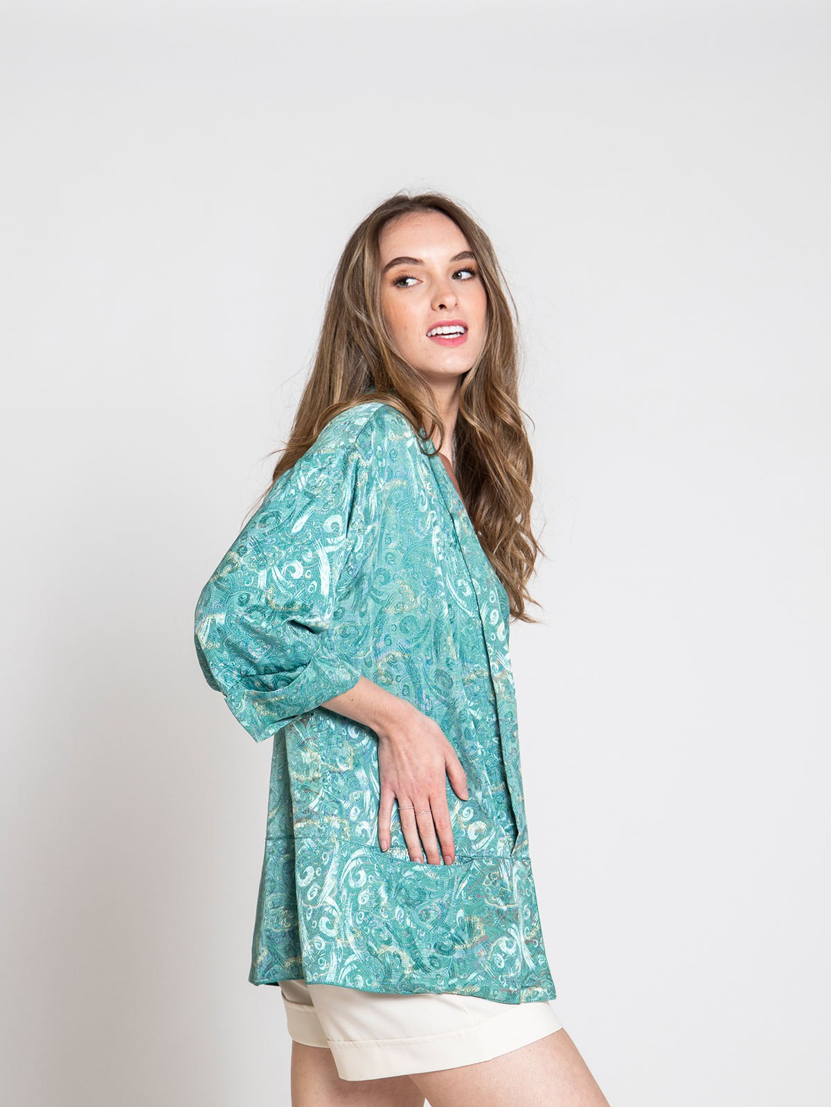 Woman Woman Flowy printed jacket Turquoises
