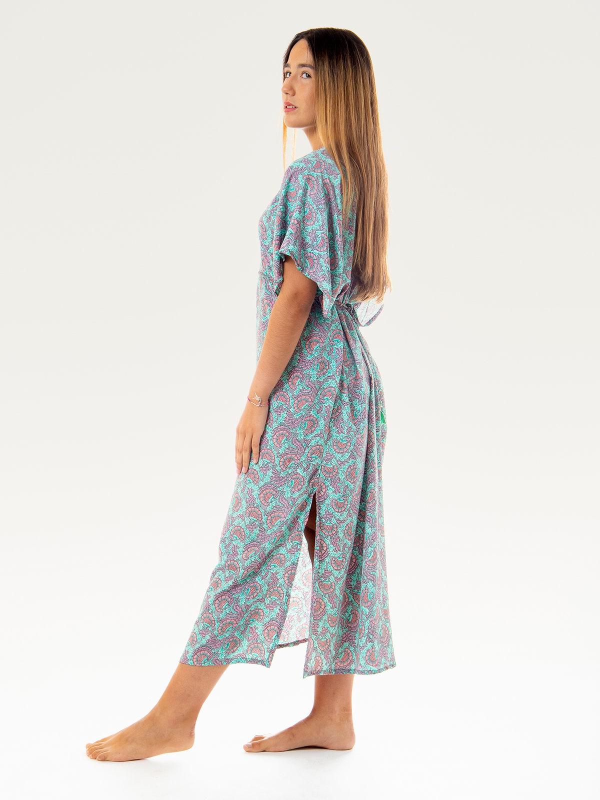 Woman Woman Flowy printed dress with detail AQUAS