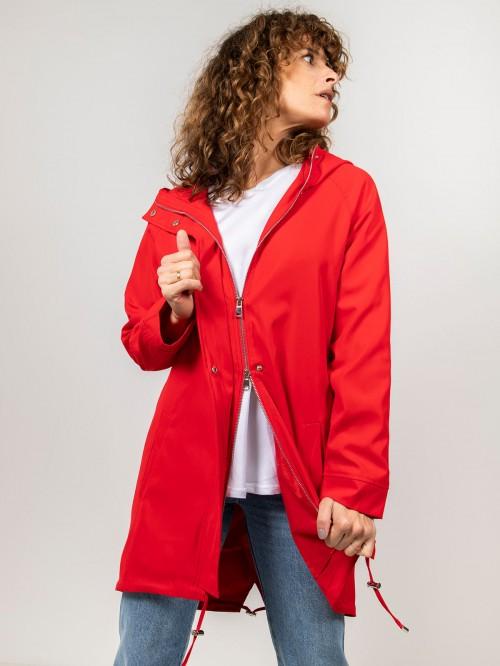 Parka mujer con cremallera Rojo