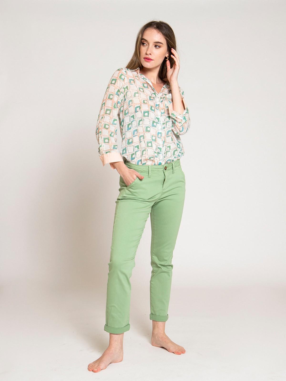 Pantalón mujer chino algodón elástico Verde