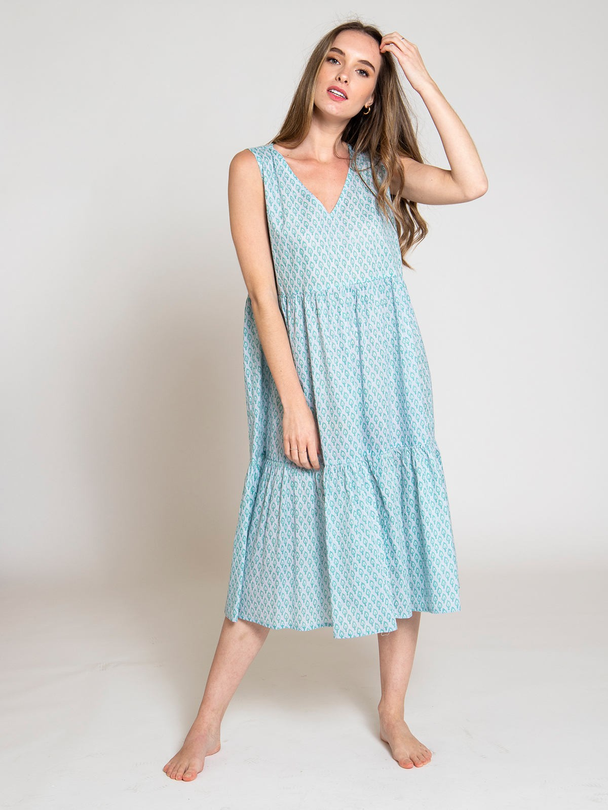 Woman Woman V-neckline printed dress Grey/Mint