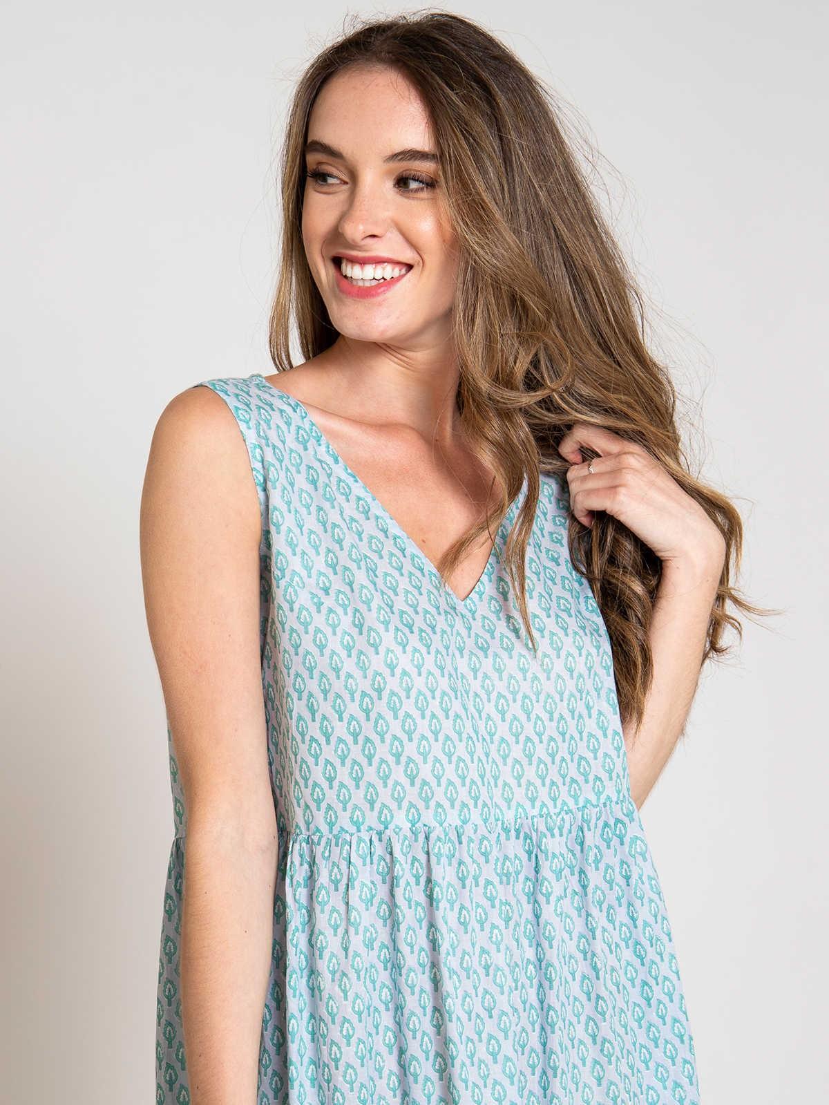 Vestido estampado escote en pico mujer Gris/Mint