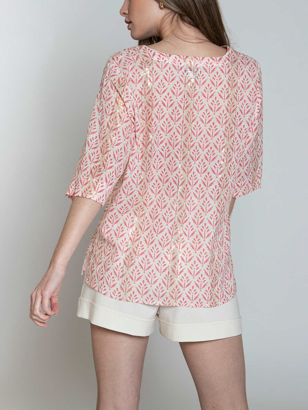 Woman Woman Printed blouse with glitter detail Coral