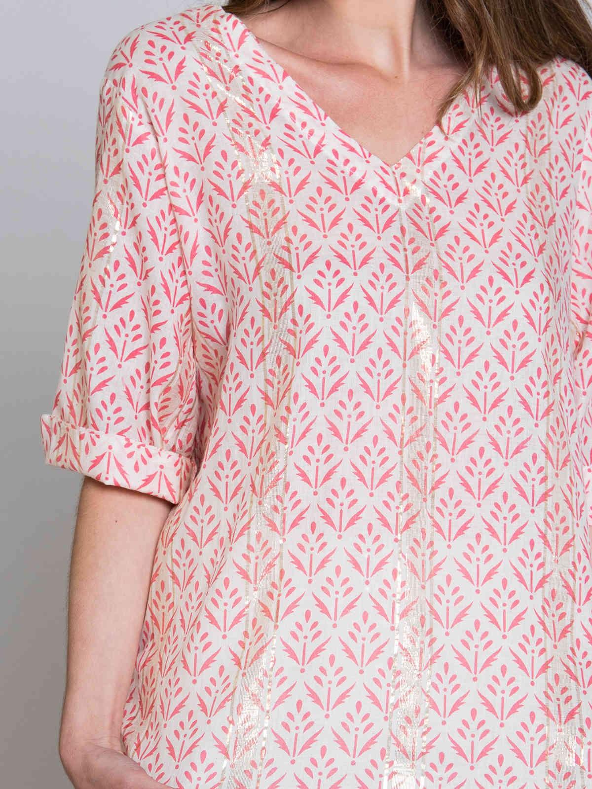 Blusa estampada detalle brillo Coral