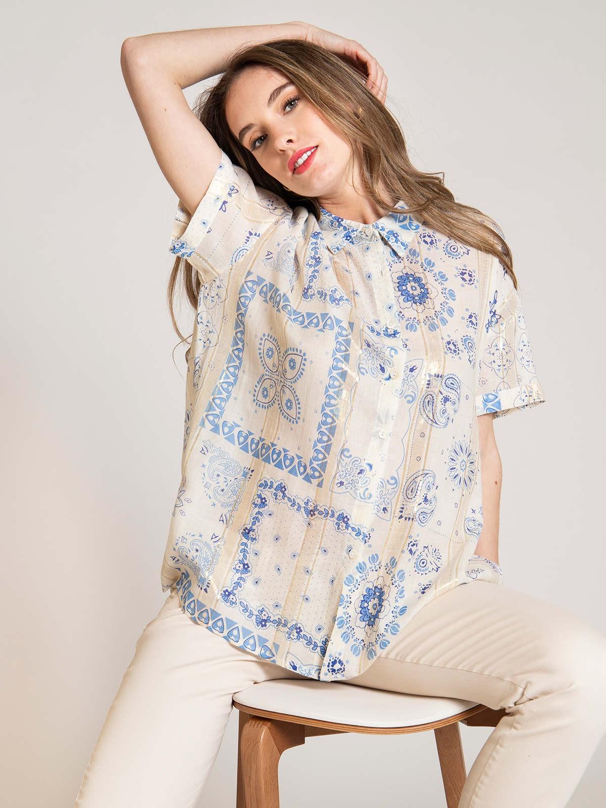Camisa estampada patchwork brillo Azul