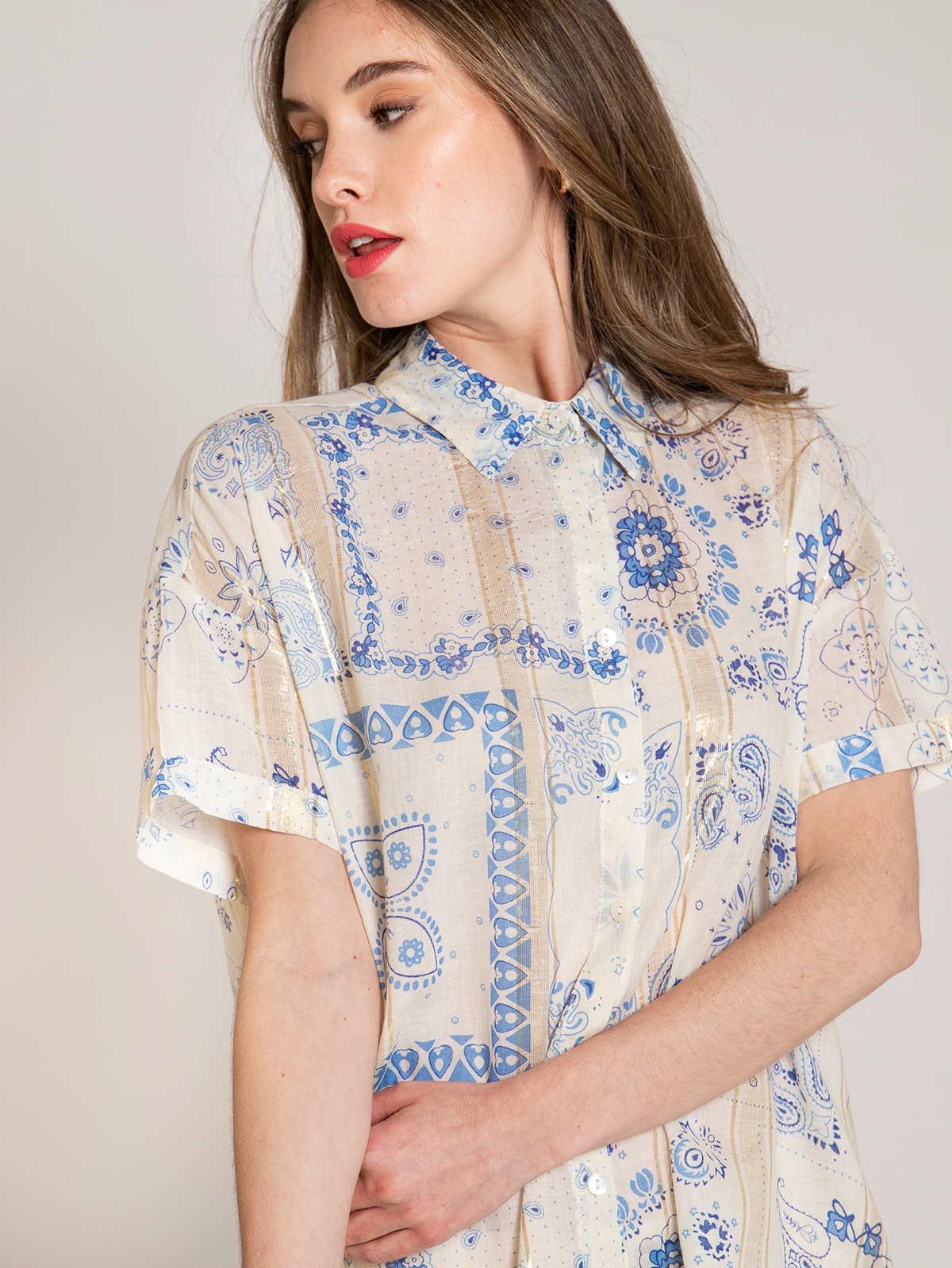 Woman Woman Glitter patchwork print shirt Blue