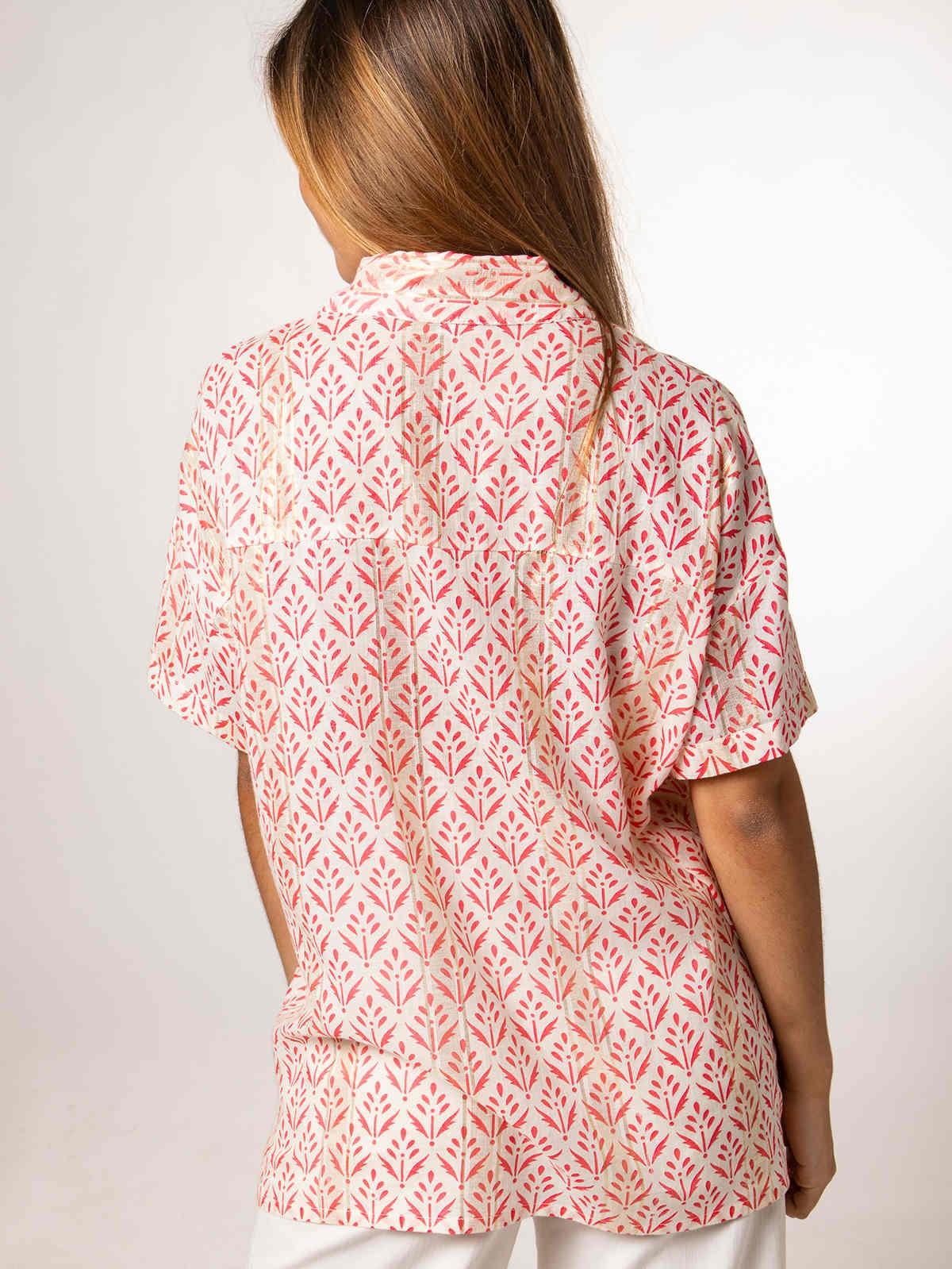 Camisa mujer estampada espiga Coral