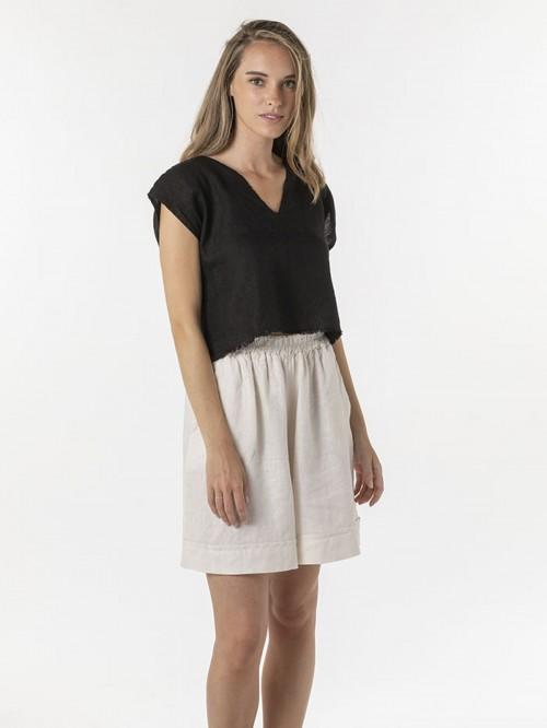 Woman Woman Linen shirt over dress Black