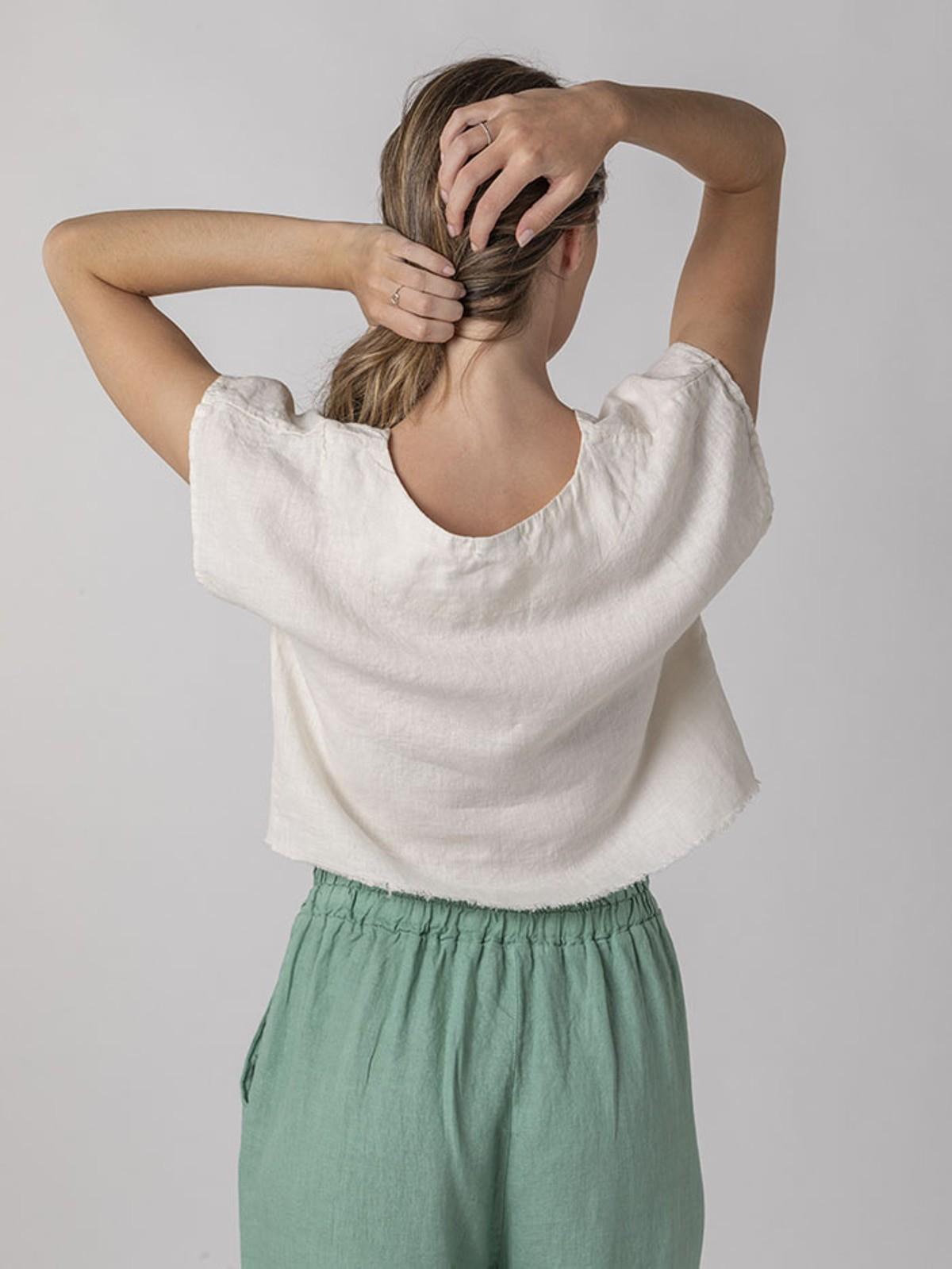 Camisa lino sobre vestido Marfil