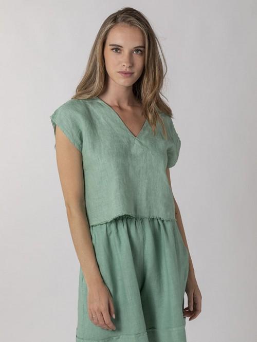 Woman Woman Linen shirt over dress Aqua