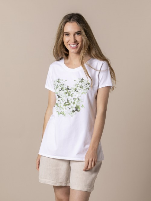 Woman Floral teddy t-shirt Green
