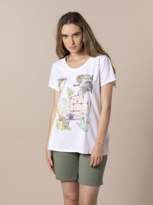 Camiseta mujer maleta viaje Verde
