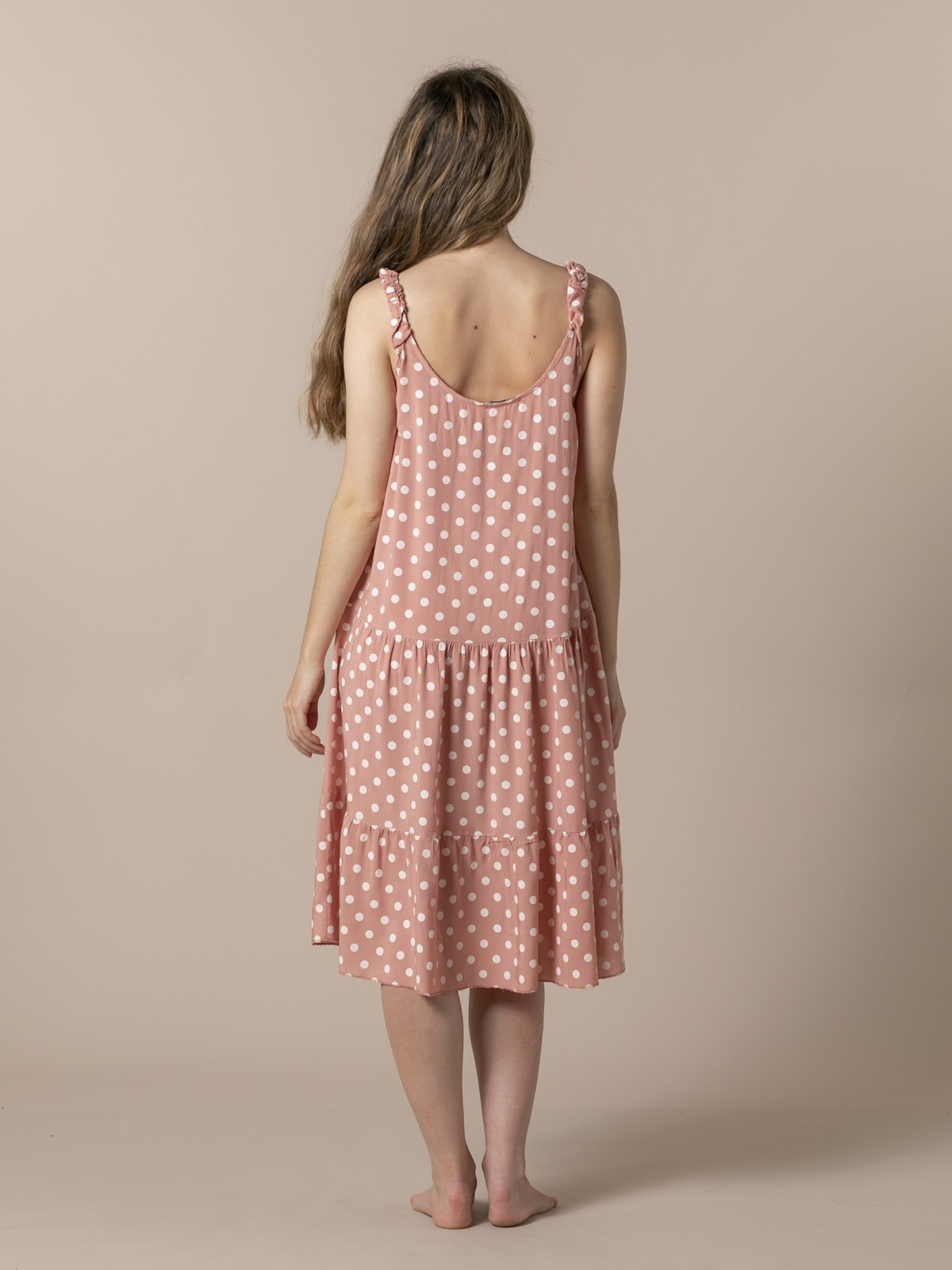 Woman Speckled midi dress with strap detail Tile