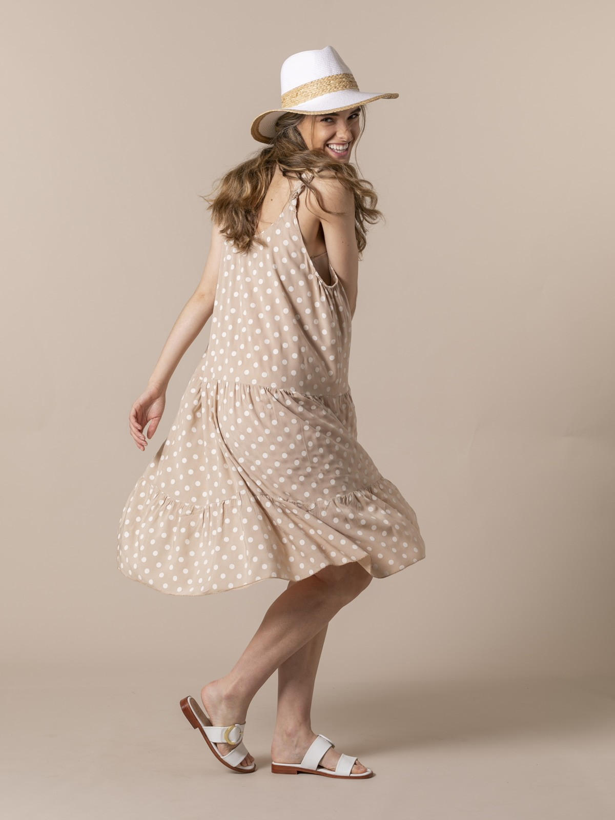 Woman Speckled midi dress with strap detail Camel
