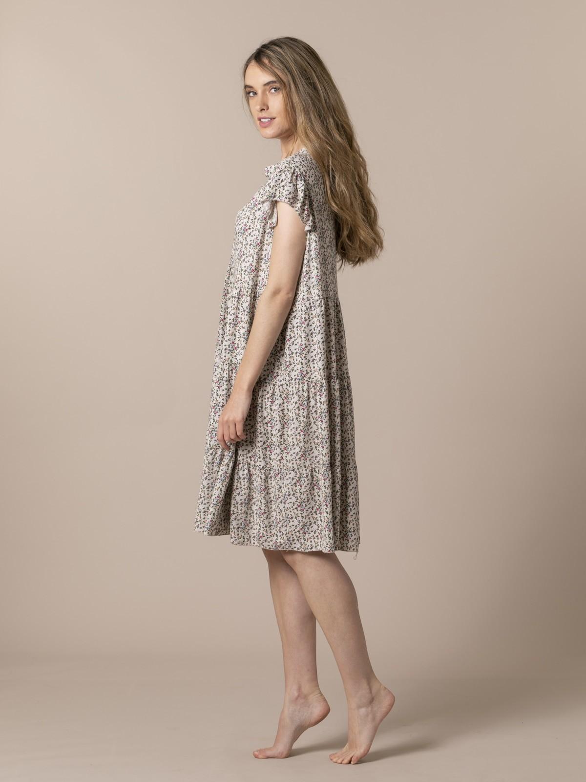 Woman Oversized flower print dress Beige