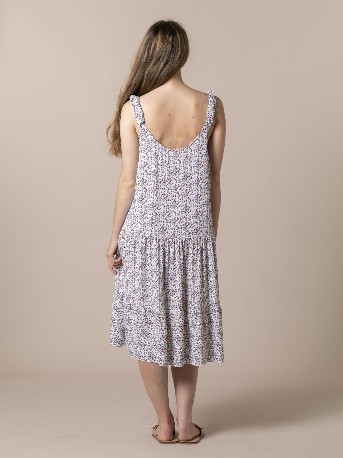 Woman Flowy floral strap midi dress White