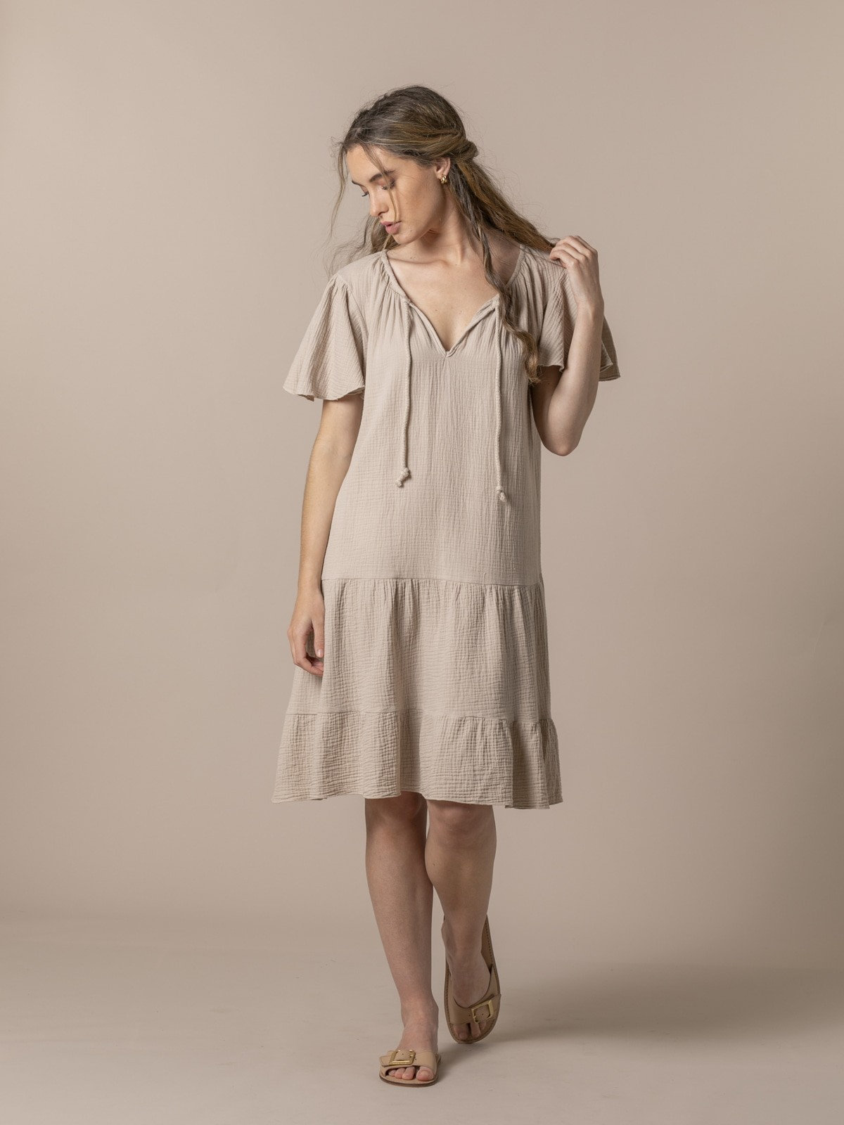 Woman Special flared cotton dress Beige