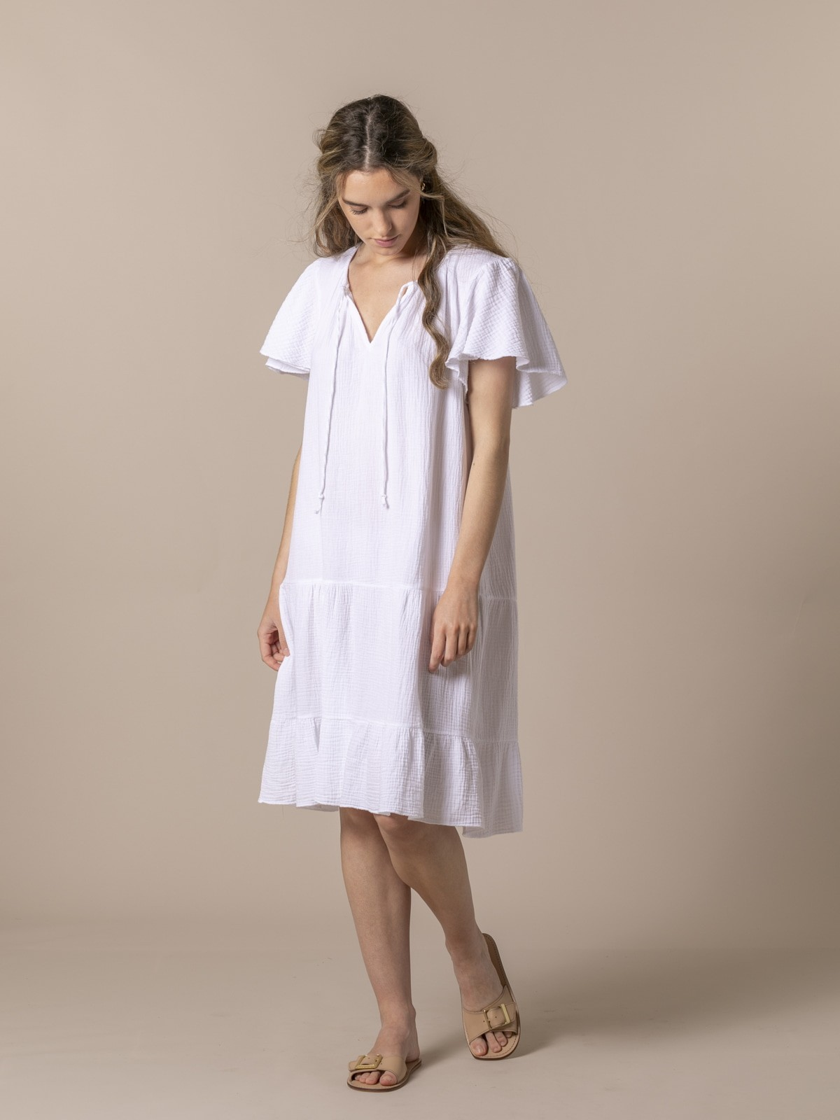 Woman Special flared cotton dress White
