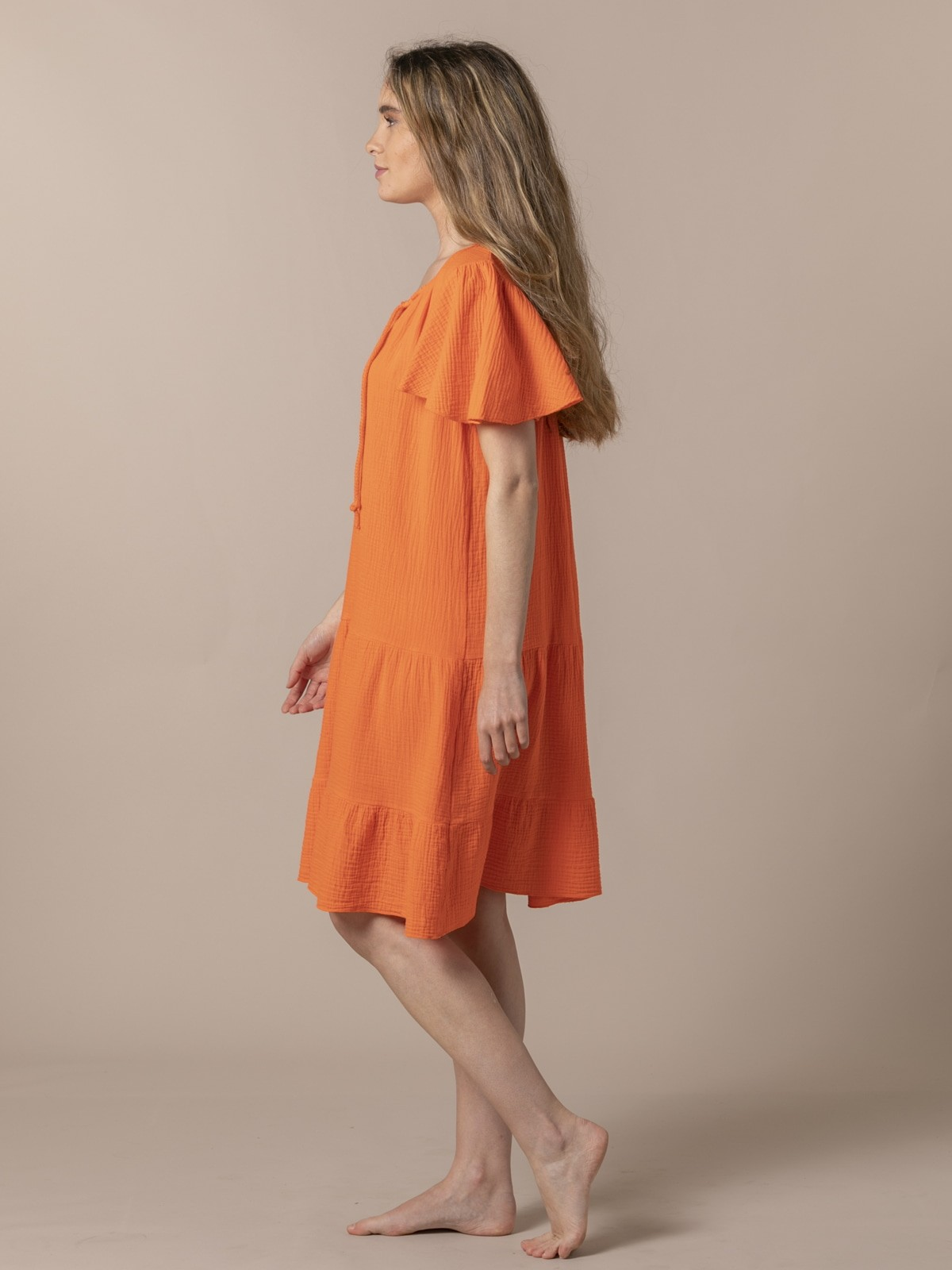 Woman Special flared cotton dress Orange