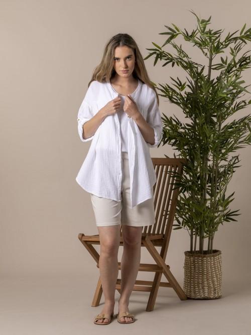 Woman Woman Trendy cotton shirt White