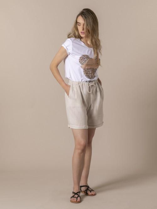 Short mujer con bolsillos de lino Beige