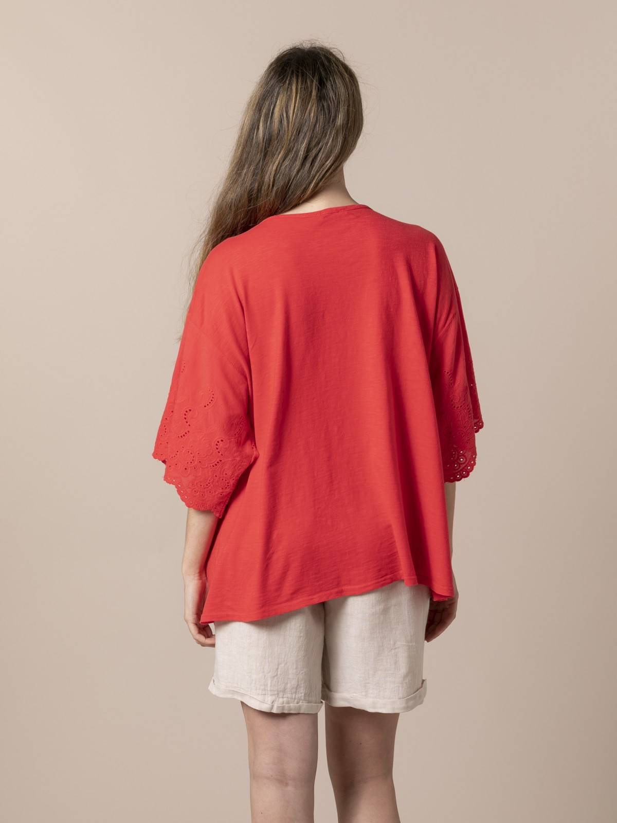 Woman Woman Embroidered and perforated T-shirt Coral