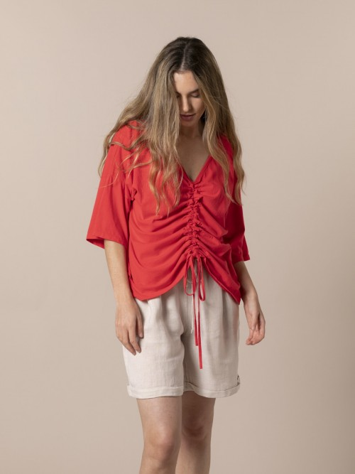 Camiseta mujer ajustable algodón Rojo