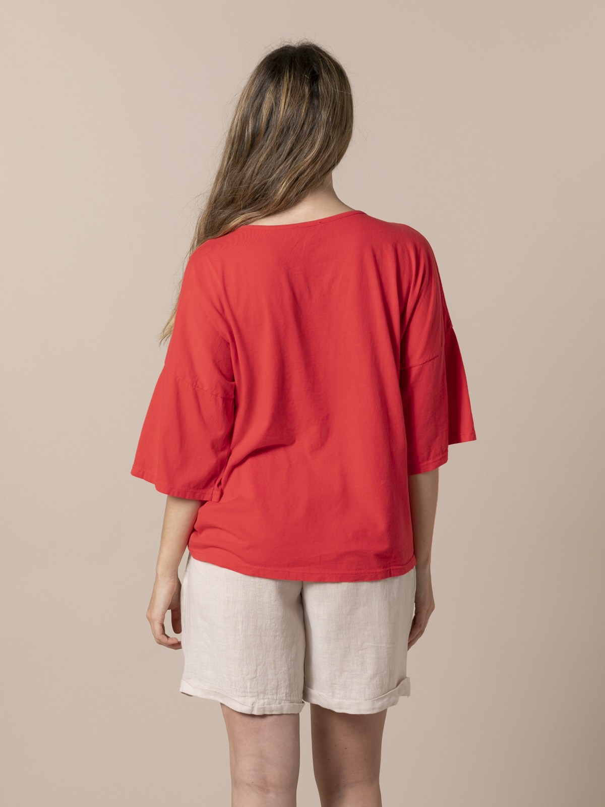 Woman Woman Cotton adjustable t-shirt Red