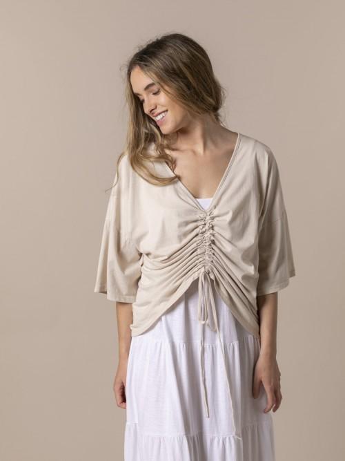 Camiseta mujer ajustable algodón Beige