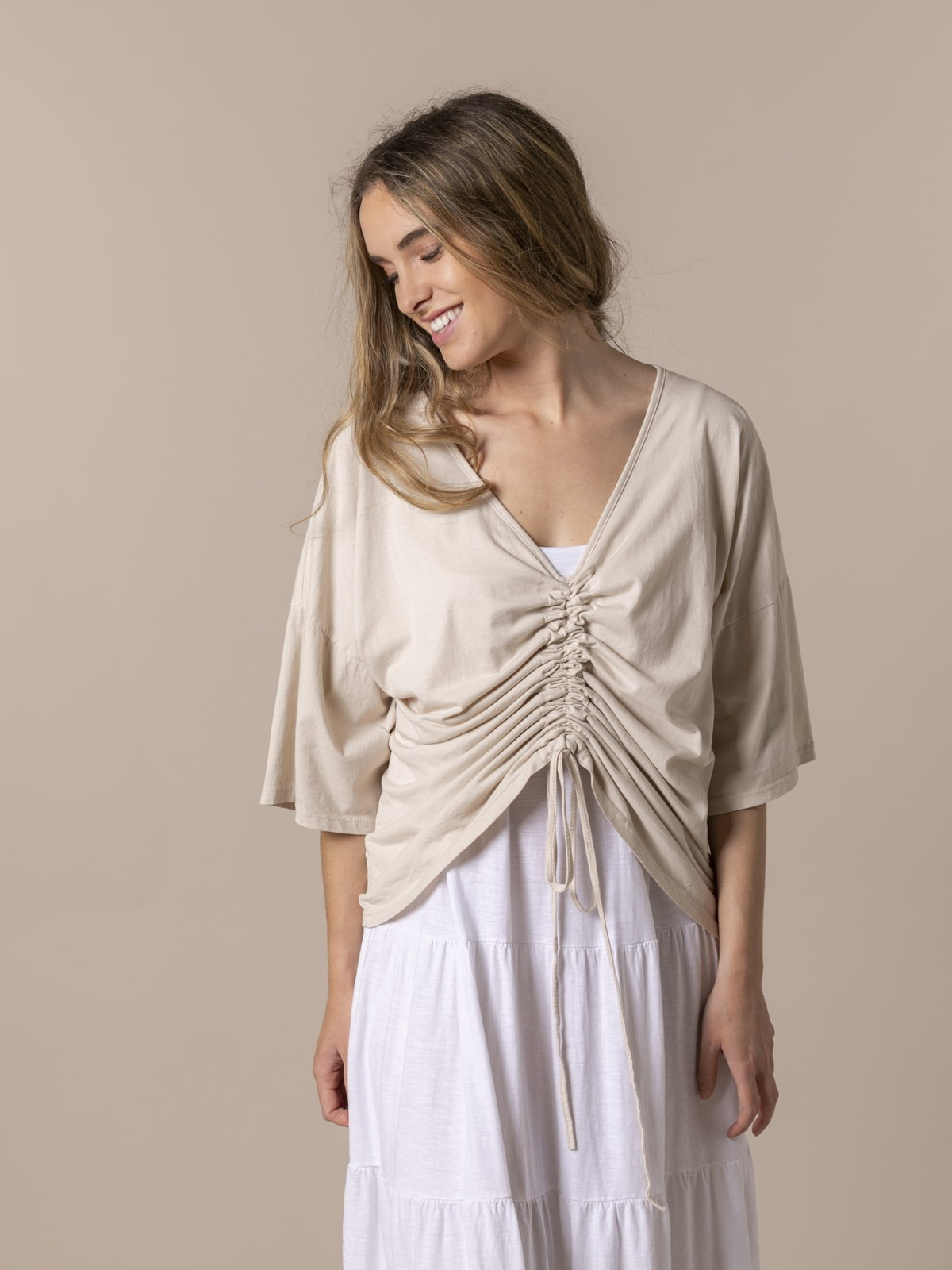 Woman Woman Cotton adjustable t-shirt Beige