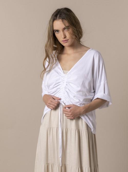Woman Cotton adjustable t-shirt White