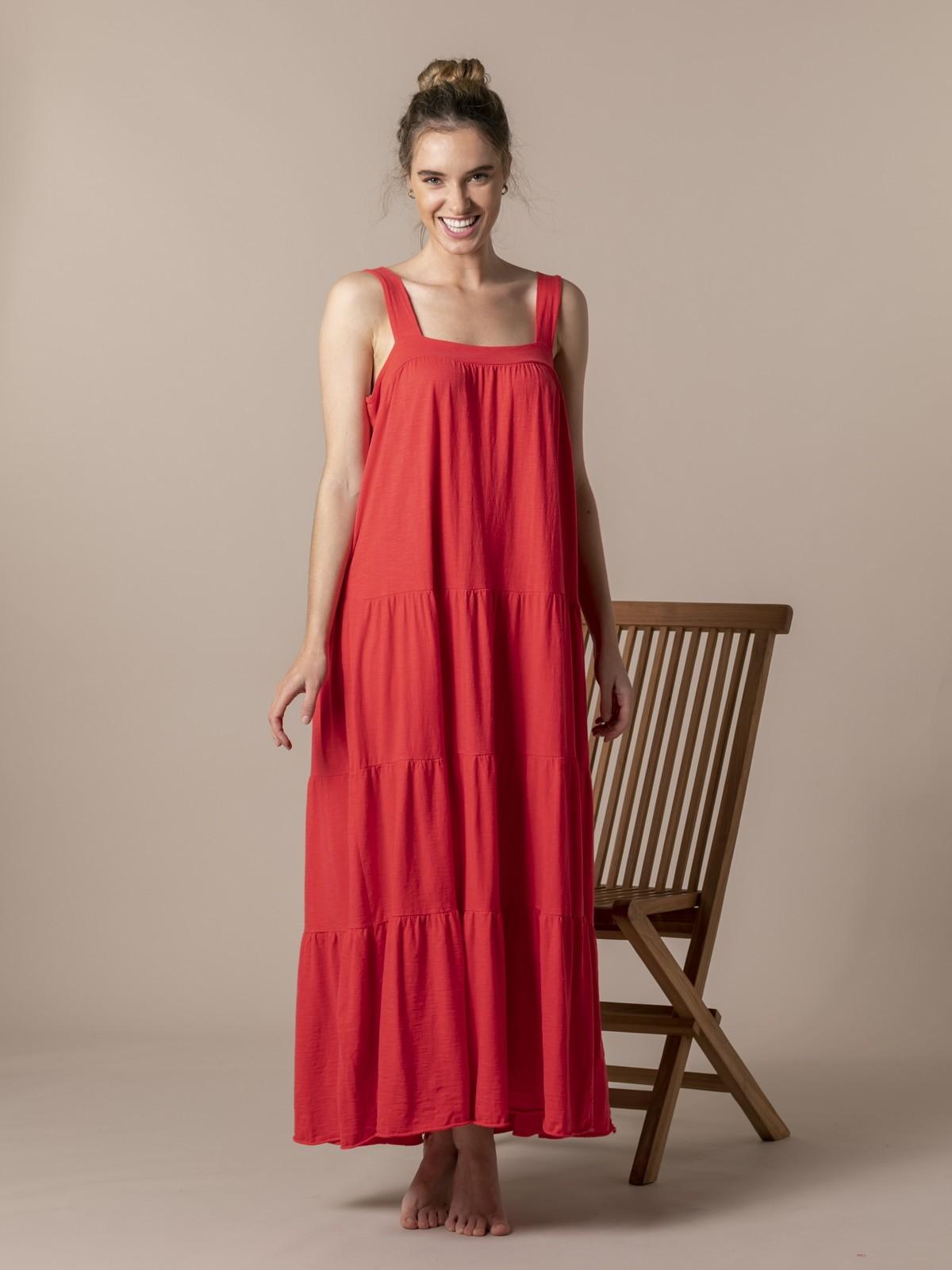 Woman Cotton wide strap dress Coral