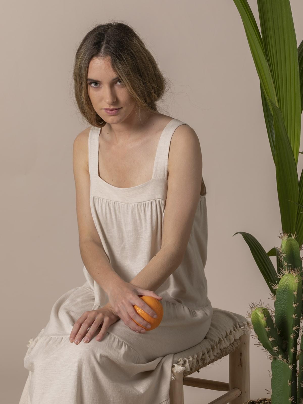 Woman Cotton wide strap dress Beige