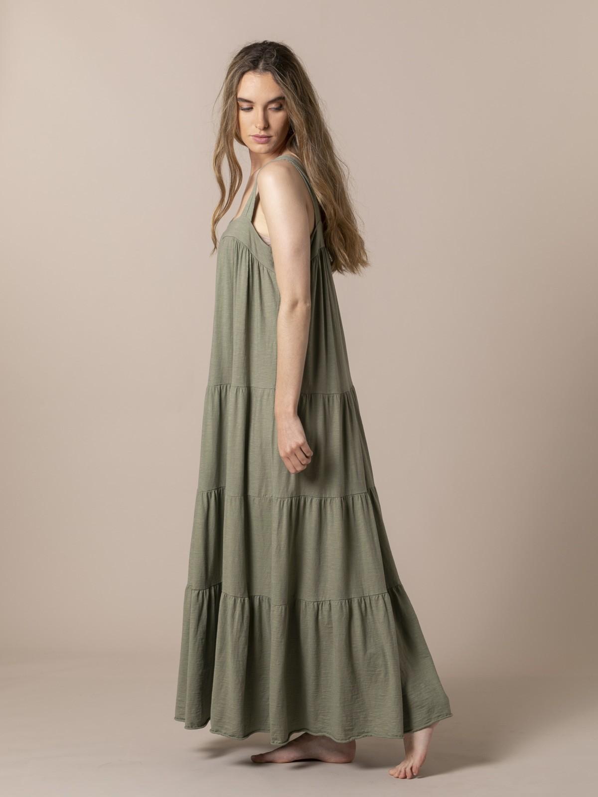Woman Cotton wide strap dress Khaki