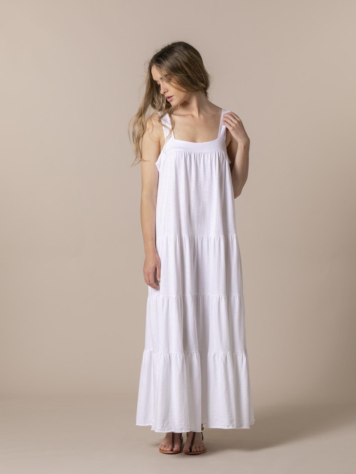 Woman Cotton wide strap dress White