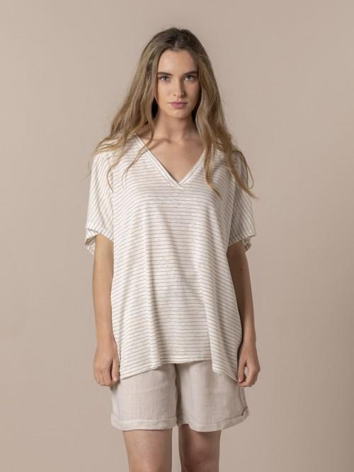 Camiseta mujer rayas lino viscosa Beige