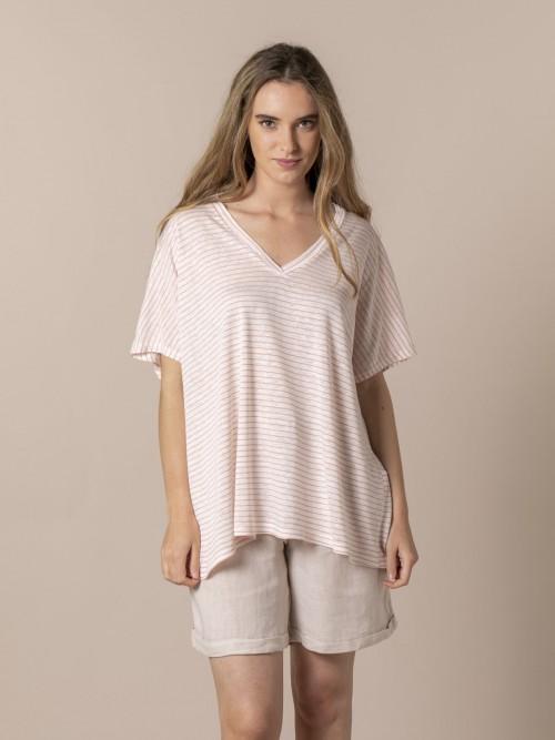 Woman Viscose linen striped T-shirt Pink