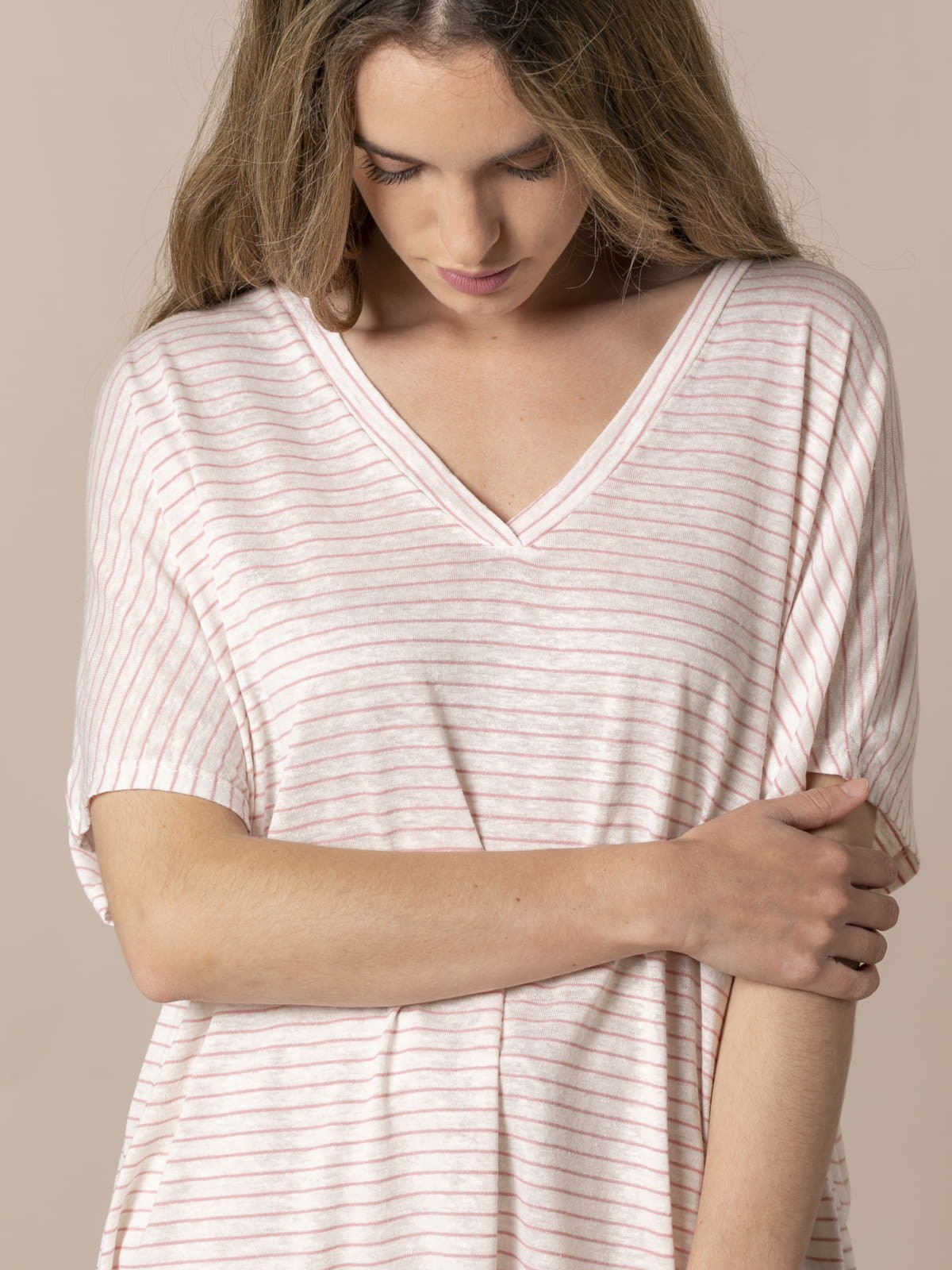 Camiseta mujer rayas lino viscosa Rosa