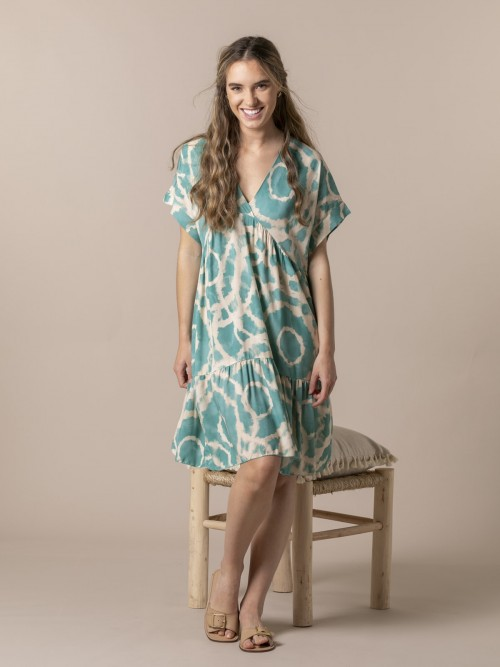 Woman Short printed dress Turquoise