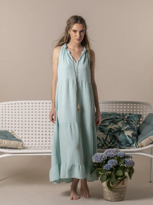 Woman Long flowing halter neck dress Aqua