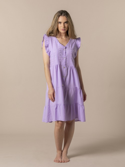 Vestido bordado mujer Lila