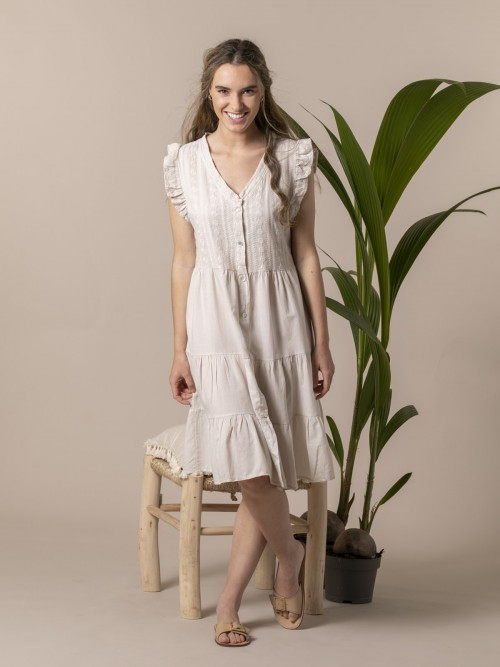 Woman Embroidered dress Beige