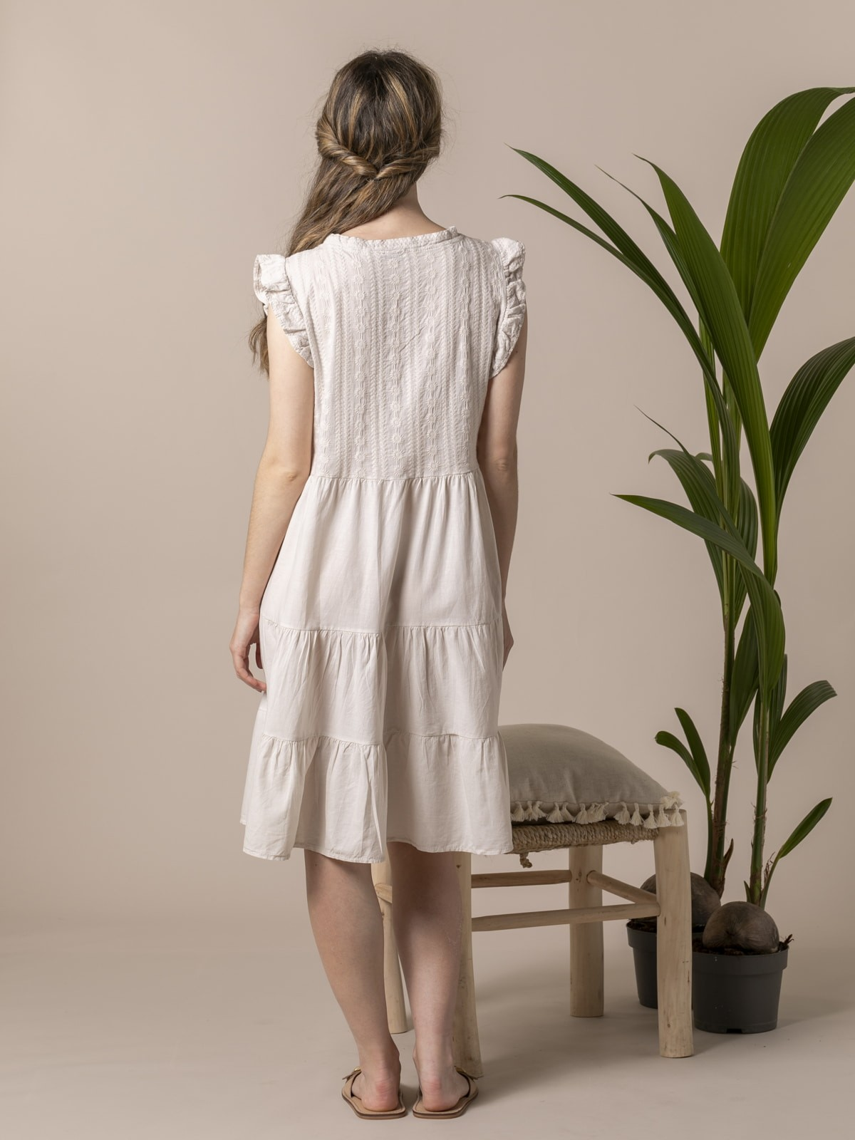 Woman Woman Embroidered dress Beige